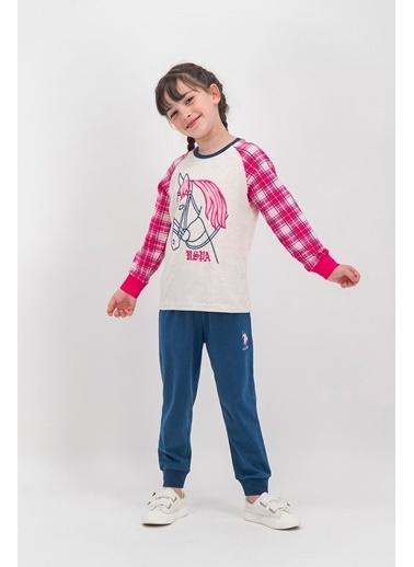 U.S. Polo Assn. U.S. Polo Assn Lisanslı Ekose Lacivert Kız Çocuk Pijama Takımı Krem